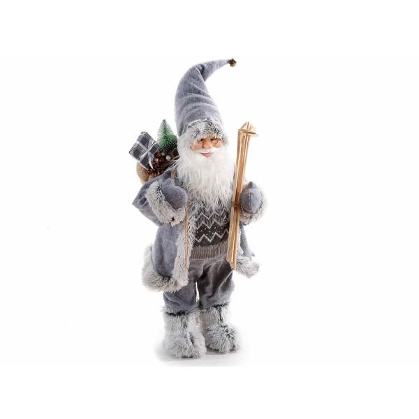 Figurina Mos Craciun gri cm 31x34x60H