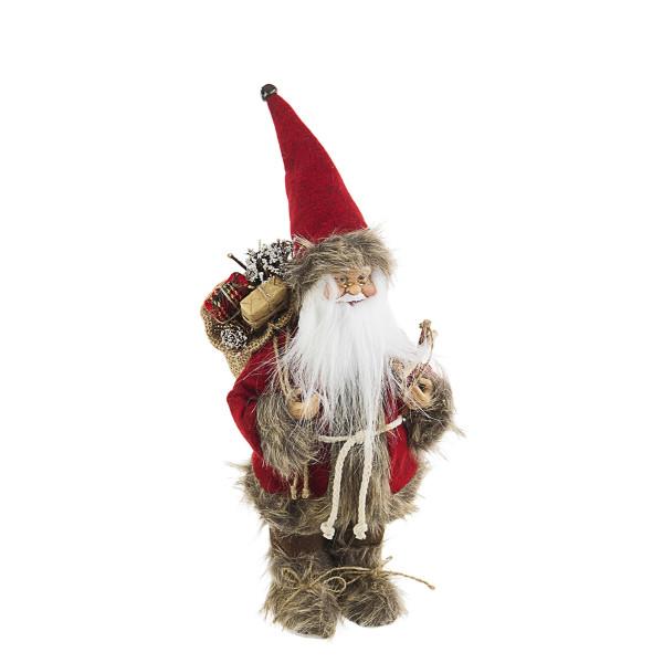 Figurina Mos Craciun alb rosu maro 16 cm x 30h