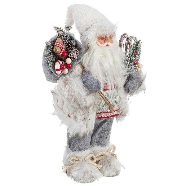 Figurina Mos Craciun alb gri rosu 16x30h