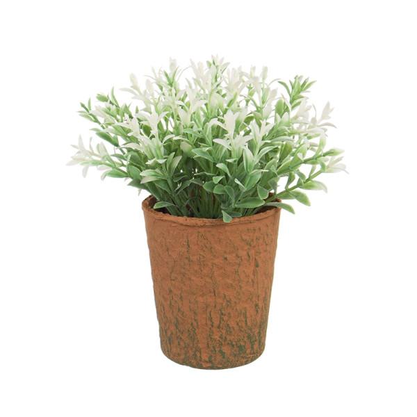 Flori artificiale albe in ghiveci maro Ø8x16h