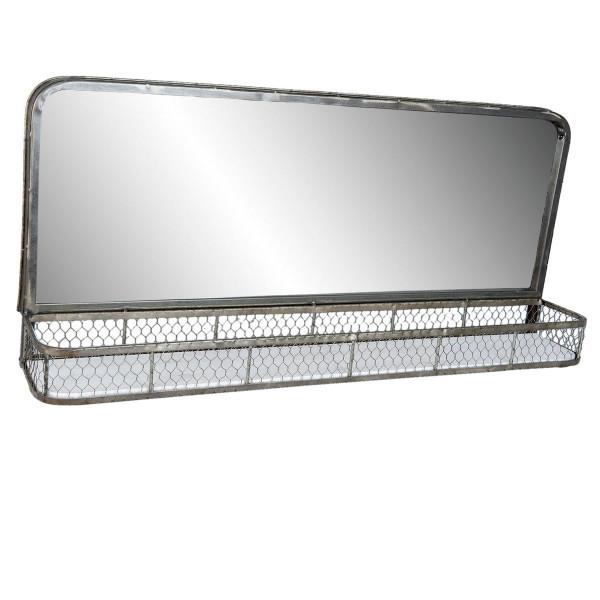 Oglinda de perete cu etajera din fier gri 91 cm x 16 cm x 42 h