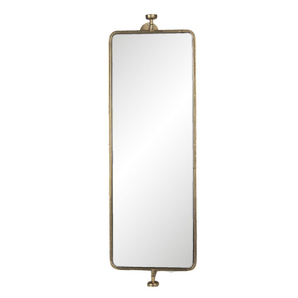 Oglinda de perete cu 2 politesi rama din fier auriu 25 cm x 17 cm x 80 h