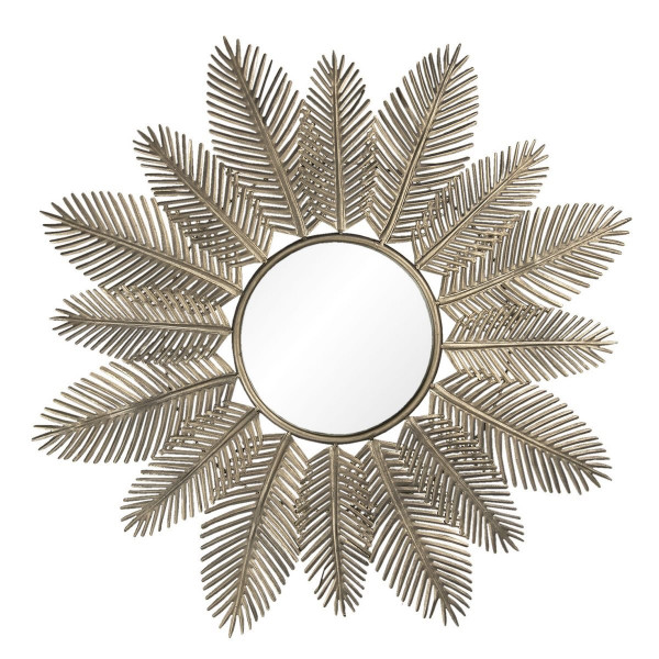 Oglinda de perete cu rama din metal auriu Ø 84 cm x 3 cm
