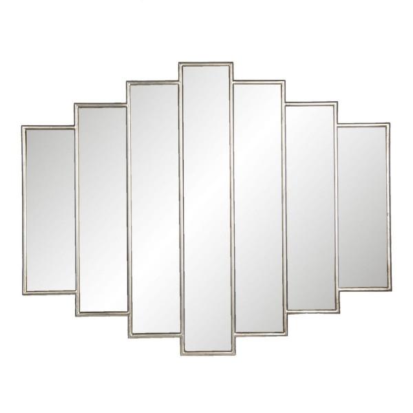 Oglinda de perete cu rama din poliuretan argintiu 80 cm x 2 cm x 100 h