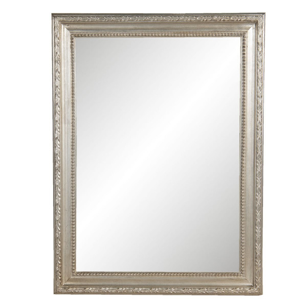 Oglinda de perete cu rama din lemn argintiu 63 cm x 2 cm x 83 h
