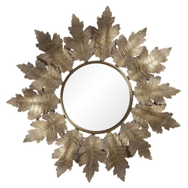 Oglinda de perete cu rama din fier auriu 86 cm x 5 cm x 84 h