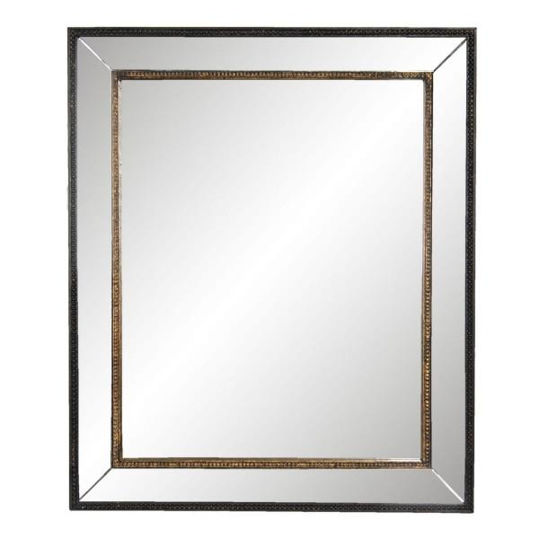 Oglinda de perete cu rama din lemn auriu negru 50 cm x 3 cm x 60 h