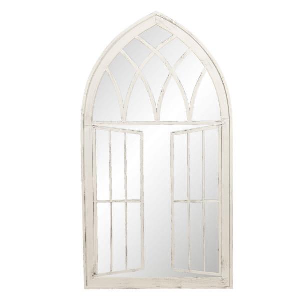 Oglinda de perete cu rama din fier alb cu patina gri 64 cm x 4 cm x 118 h
