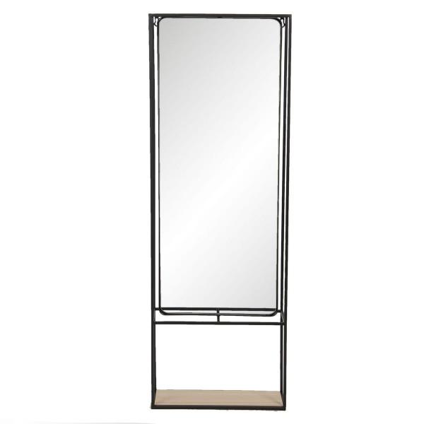 Oglinda de perete cu rama din fier negru si polita din lemn 40 cm x 15 cm x 115 h