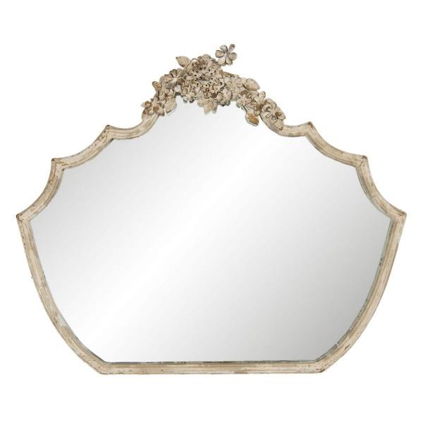 Oglinda de perete cu rama din fier crem antichizat 70 cm x 4 cm x 58 cm