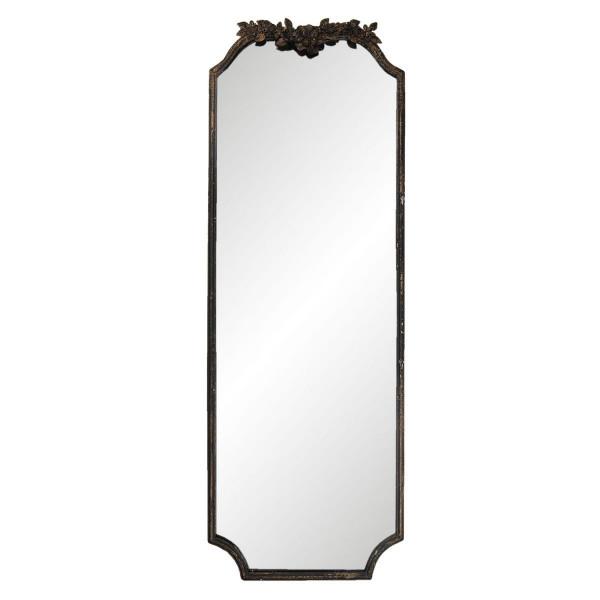 Oglinda de perete cu rama din fier negru antichizat 50 cm x 4 cm x 142 cm