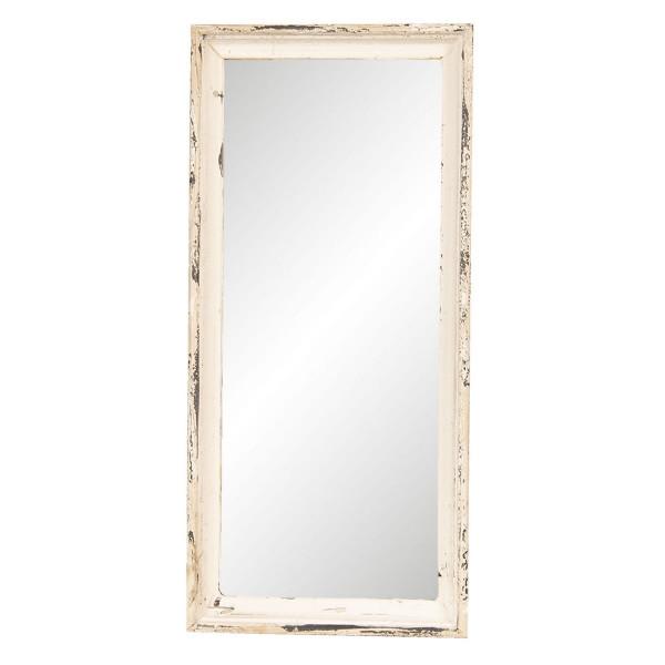 Oglinda de perete cu rama din lemn alb antichizat 24 cm x 4 cm x 57 h