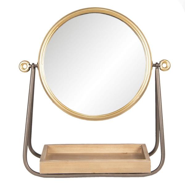 Oglinda de masa cu rama din metal auriu maro si tava din lemn natur 40 cm x 14 cm x 42 h