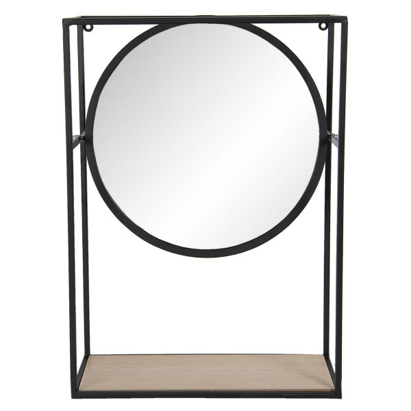 Oglinda mobila de perete cu rama din fier negru si polita din lemn 36 cm x 15 cm x 50 h