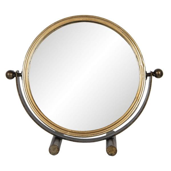 Oglinda mobila de masa cu picior si rama fier negru auriu 32 cm x 10 cm x 28 h