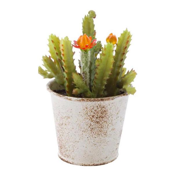 Planta artificiala suculenta cu flori in ghiveci metal alb patinat 10 cm x 10 cm x 11 h