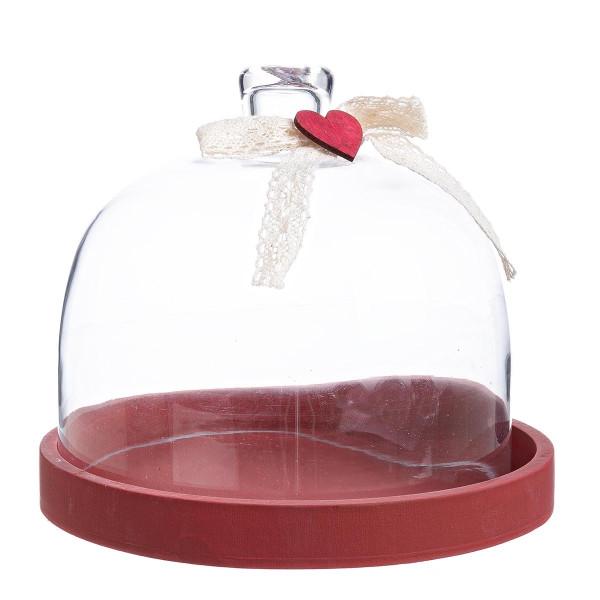 Platou deserturi aperitive cu cupola sticla Ø 22 cm x 18h