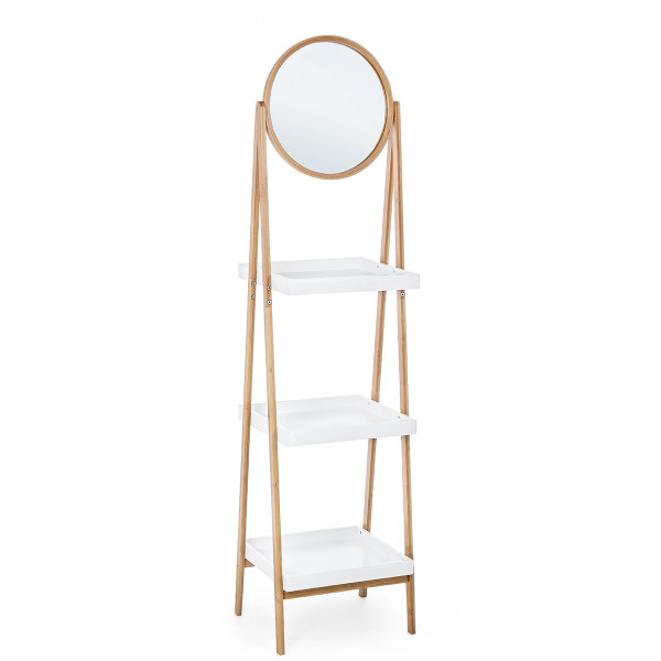 Raft de pardoseala 3 polite si oglinda lemn natur alb 43 cm x 36 cm x 162h