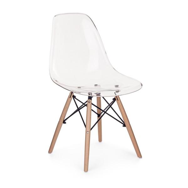 Scaun cu spatar din lemn si policarbonat natur Lindsay 45 cm x 54 cm x 81.5 h x 45 h