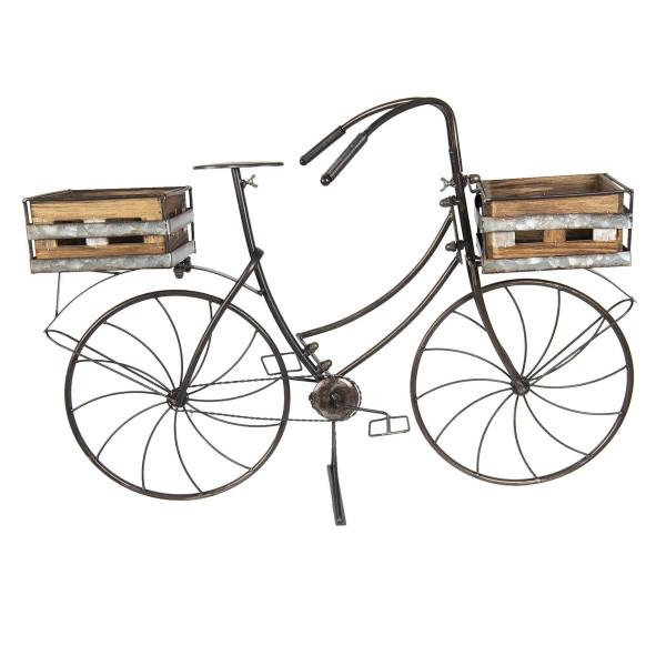 Suport de flori tip Bicicleta din fier maro cu 2 suporturi pentru ghivece din lemn natur 85 cm x 30 cm x 58 h