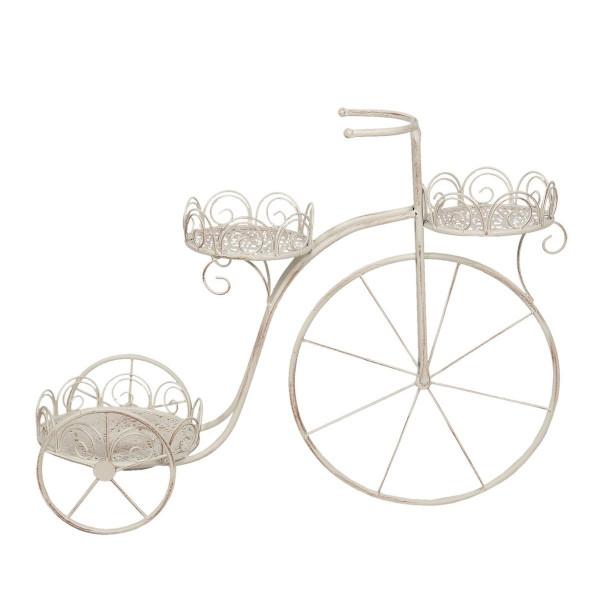 Suport pentru ghivece flori tip Bicicleta din fier crem patinat 74 cm x 25 cm x 56 h