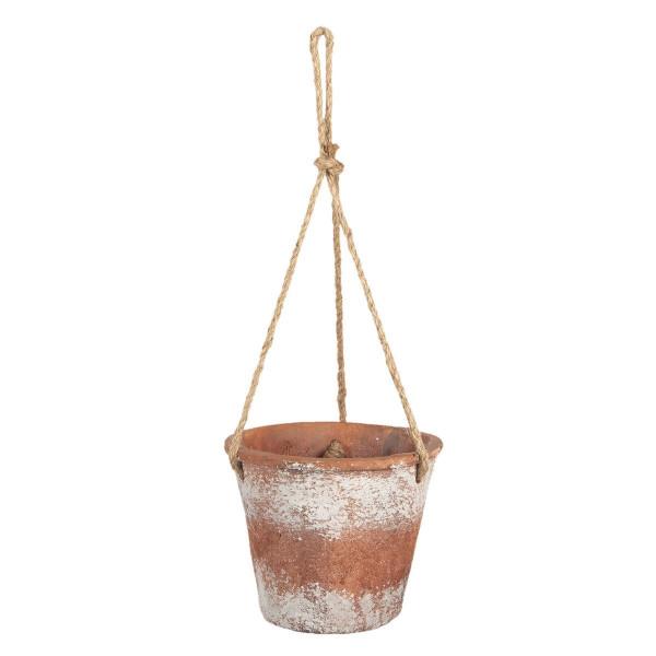 Ghiveci pentru flori din metal roscat alb antichizat 19 cm x 19 cm x 53 h