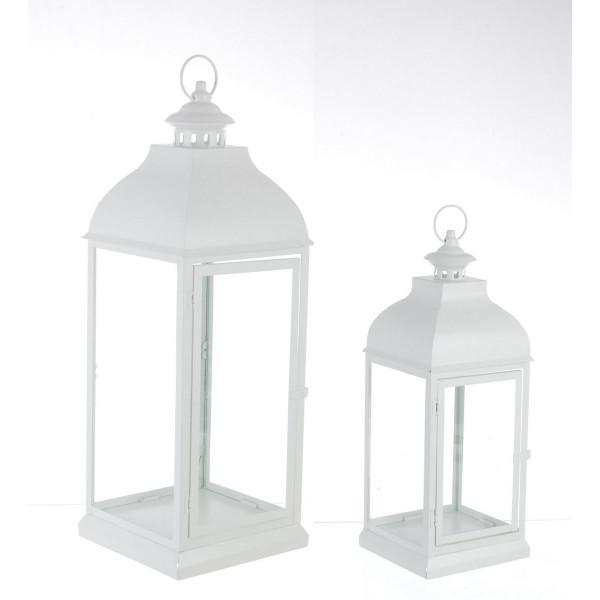 Set 2 felinare metal alb sticla Namir