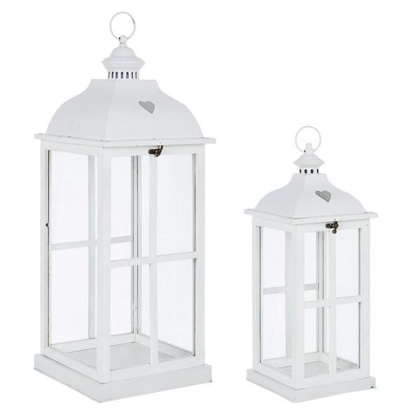 Set 2 felinare metal lemn sticla alb Cross....