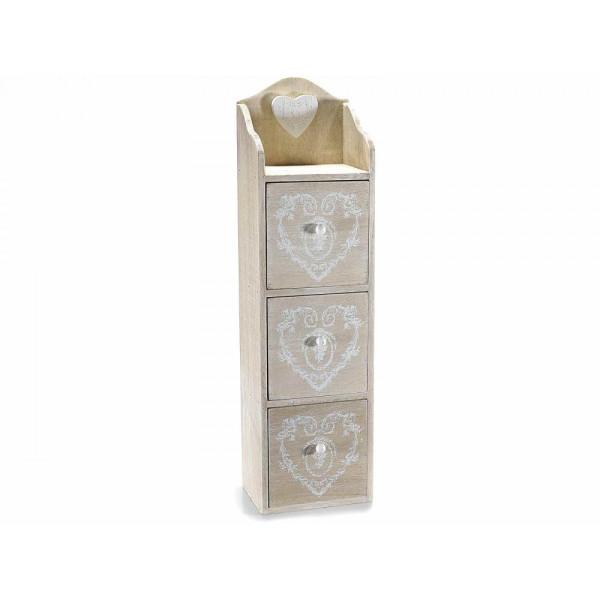 Caseta bijuterii cu 3 sertare lemn natur alb Aliona 13.5 cm x 11 cm x 49.5 cm