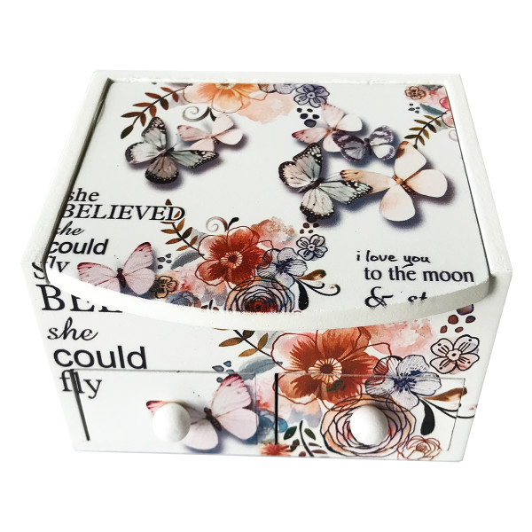 Cutie bijuterii cu oglinda si 2 sertare lemn 11 cm x 9 cm x 15 H