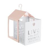 Set 2 felinare suspendabile din metal alb roz Armonia 11 cm x 11 cm x 20 h; 15 cm x 15 cm x 26 h