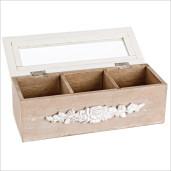 Cutie din pentru ceai lemn natur alb sticla 3 compartimente 23 cm x 9 cm x 8h