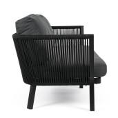 Canapea 3 locuri picioare fier negru tapitata material textil gri Makatea 225 cm x 81 cm x 85 h x 43 h1 x 70 h3