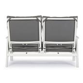 Canapea 2 locuri cu cadru din fier si perne textil gri Kledi 152 cm x 81 cm x 98 h