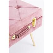 Taburet cu spatiu depozitare tapiterie velur roz cu picioare fier auriu Polina 50 cm x 34 cm x 42 h