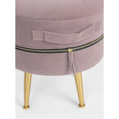 Set 2 tabureti catifea roz prafuit picioare metal auriu cu spatiu depozitare Pavlina Ø 34 cm x 45 h; Ø 38.5 cm x 45 h