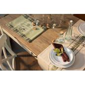 Scaun din lemn alb antichizat cu sezut maro Siena 50 cm x 52 cm x 88 h x 47 h1