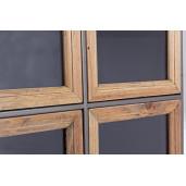 Comoda 2 usi din metal negru si lemn maro Border 41 cm x 33.2 cm x 88 h