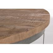 Masuta din fier gri si blat lemn mango maro Narvik Ø 90 cm x 43 h