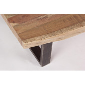 Masuta de cafea cu blat din lemn maro si picioare fier negru patina argintie Elmer 120 cm x 70 cm x 42 h
