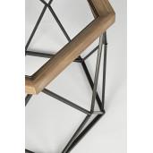 Set 2 masute de cafea din fier negru cu blat lemn natur si sticla Smith Ø 64 cm x 62 h