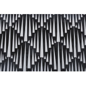 Set 3 masute de cafea din fier cu blat din mosaic alb negru Janesh 45 cm x 30 cm x 45 h