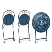 Set 2 scaune pliabile si masa fier forjat bleumarin Bistrot