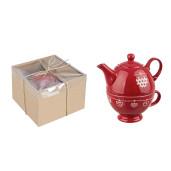 Ceainic si ceasca ceramica rosu Cuore Ø18x18h