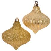 Set 4 ornamente brad Gold Glitter