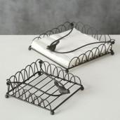 Suport din metal maro pentru servetele Bird 20x20x9 cm