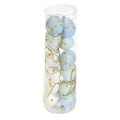 Set 12 oua decorative plastic suspendabile albastru alb