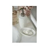 Dispenser ceramica alba pentru sapun Flowers Ø 8x19 cm