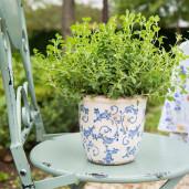 Ghiveci pentru flori ceramica alb albastru Elegance Ø 14 cm x 13 H