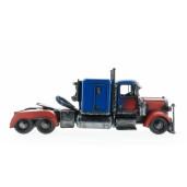 Macheta camion retro metal albastru rosu 36 cm x 13 cm x 16 cm